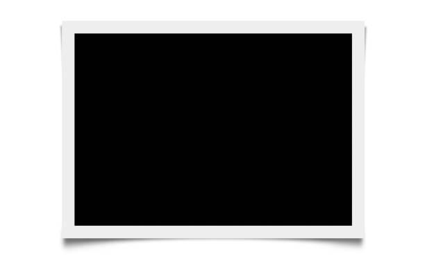 schwarzer bildschirm mit weißem rahmen isoliert - polaroid stock-fotos und bilder