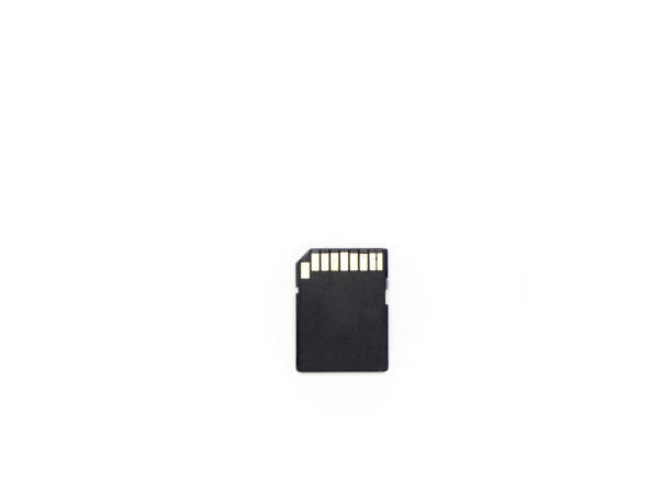 black sd card on isolated white background - memory card stock photos and pictures