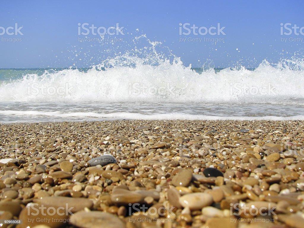 Black sea and beach pebbles stock photo