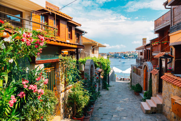 black sea and old town in Sozopol, Bulgaria black sea and old town in Sozopol, Bulgaria bulgaria stock pictures, royalty-free photos & images