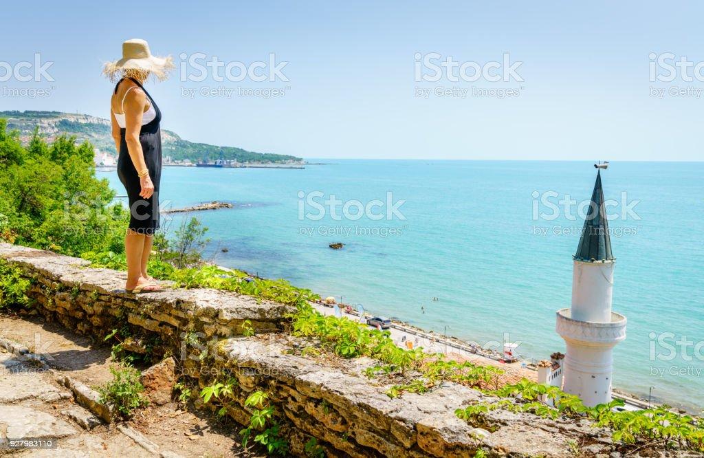 Black Sea coast in Balchik stock photo