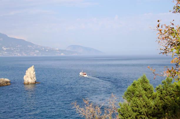 Black sea coast on a beautiful day in the Crimea. stock photo