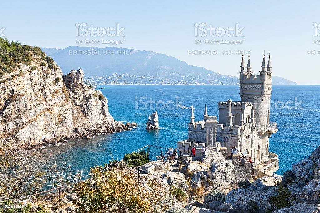 Black Sea coastline with Swallow's Nest castle stock photo