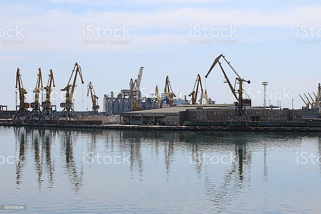 Black sea ship port in Odessa stock photo