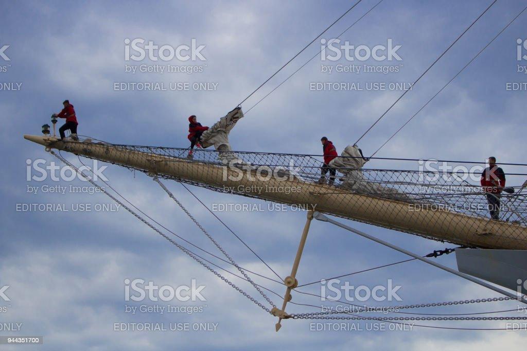 SCF Black Sea Ships Regatta 2016,Varna, sailors setting the sails stock photo