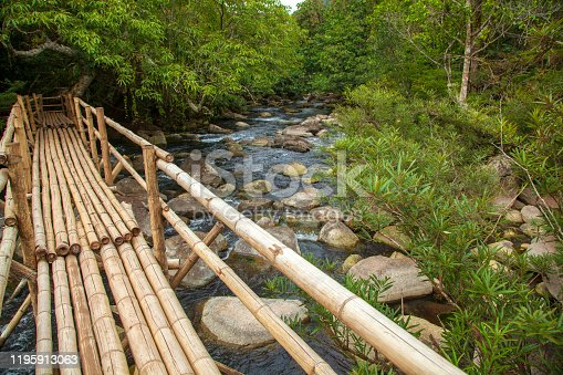 Bamboo bridge over the river in Unknown source