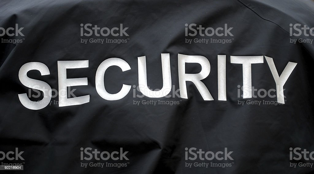 Black security jacket background stock photo