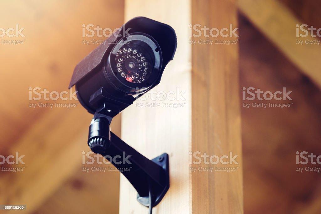 black security surveillance camera stock photo