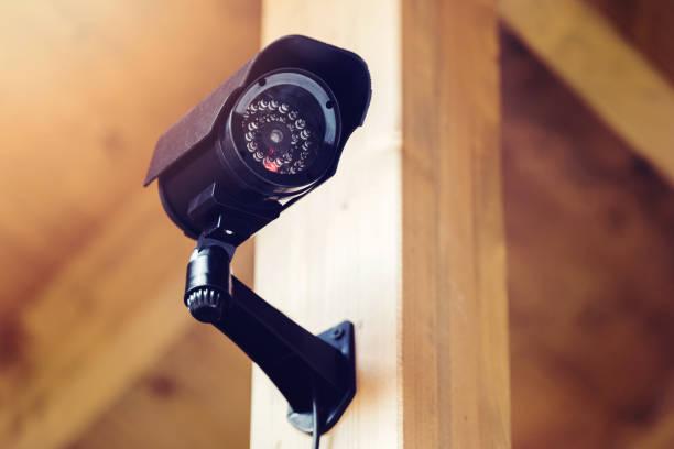 zwarte beveiliging-bewakingscamera - bewakingscamera stockfoto's en -beelden