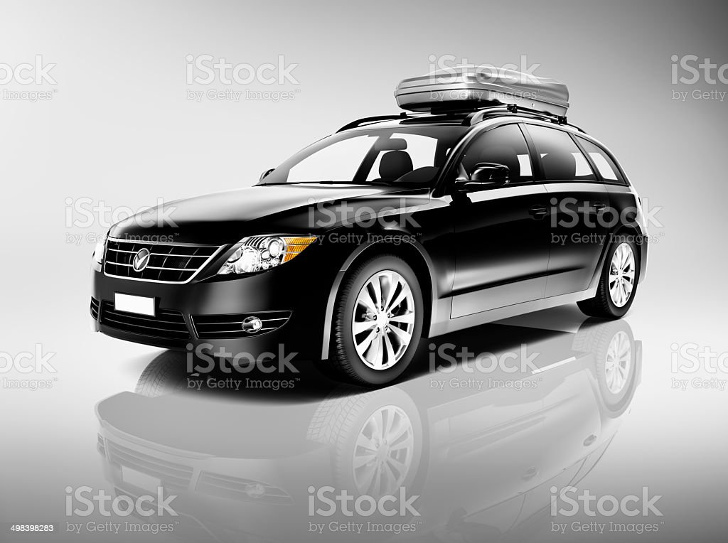3D Black Sedan Studio Shot stock photo
