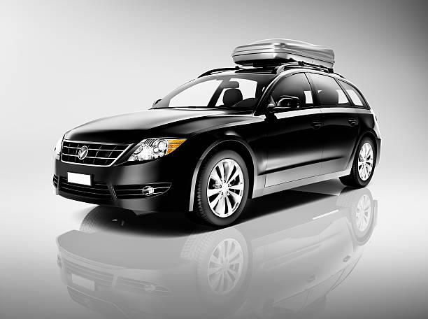 3D Black Sedan Studio Shot stock photo