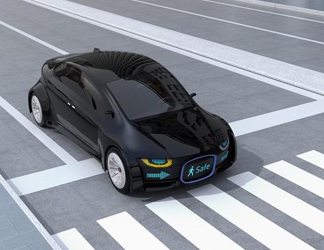 Black Selfdriving Cars Front Grille Showing Digital Signage