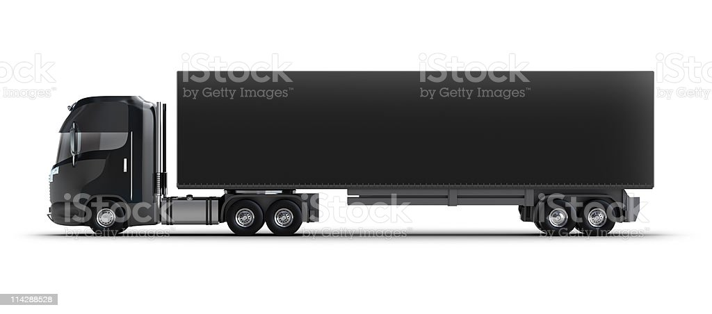 Black semi truck with black trailer royalty-free stock photo