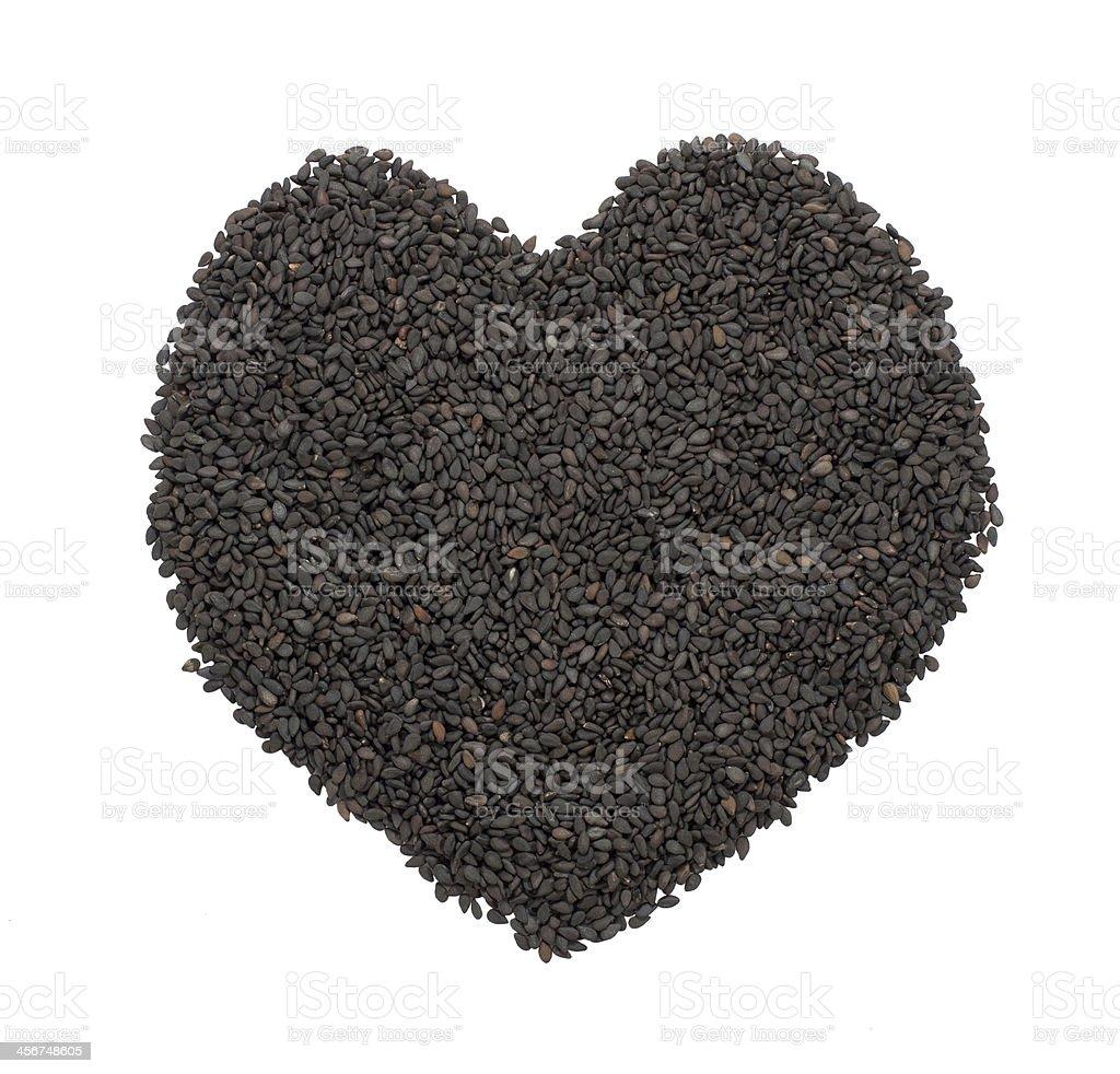 Black Sesame Heart stock photo