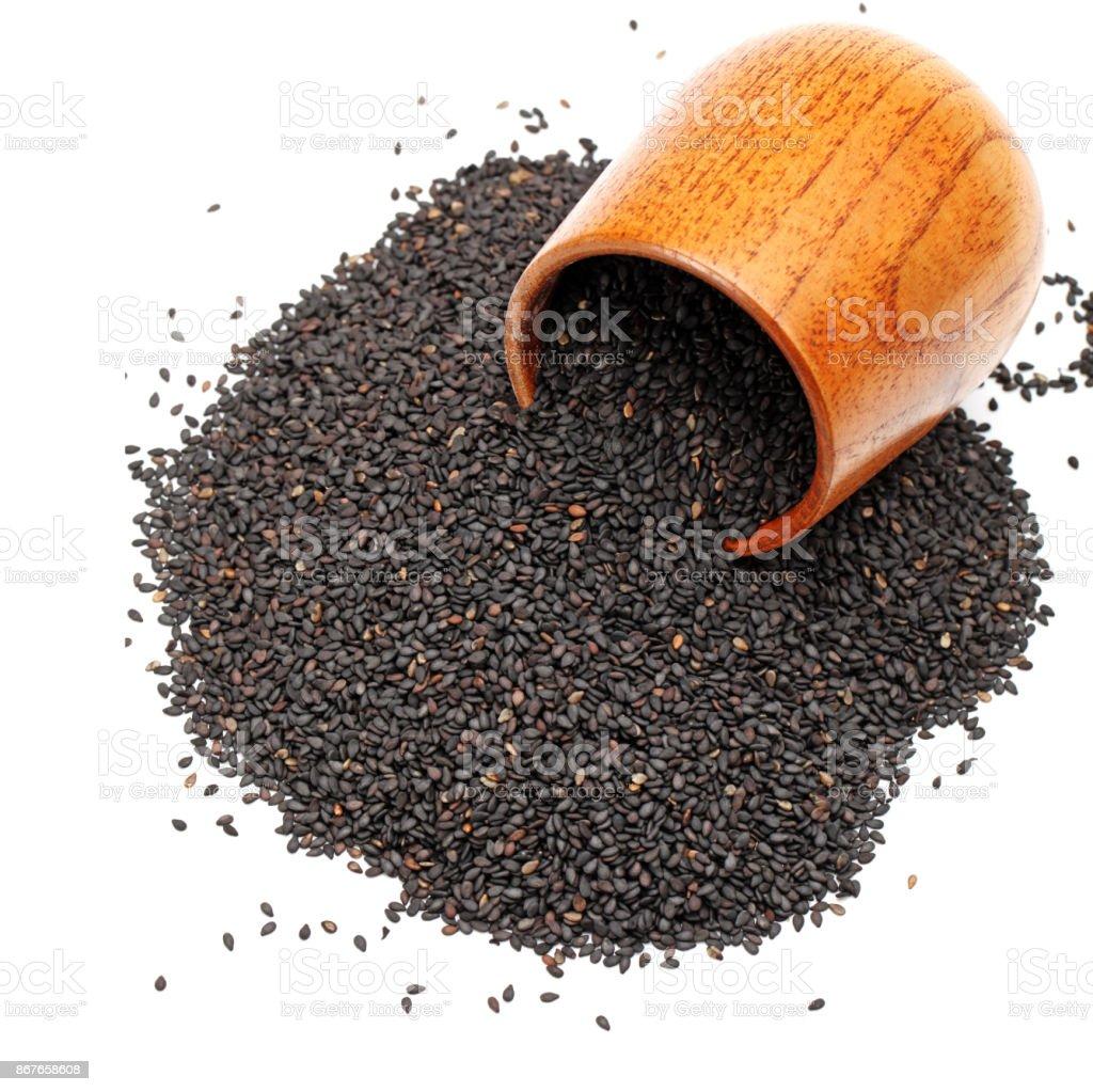 Black sesame  on the white background stock photo