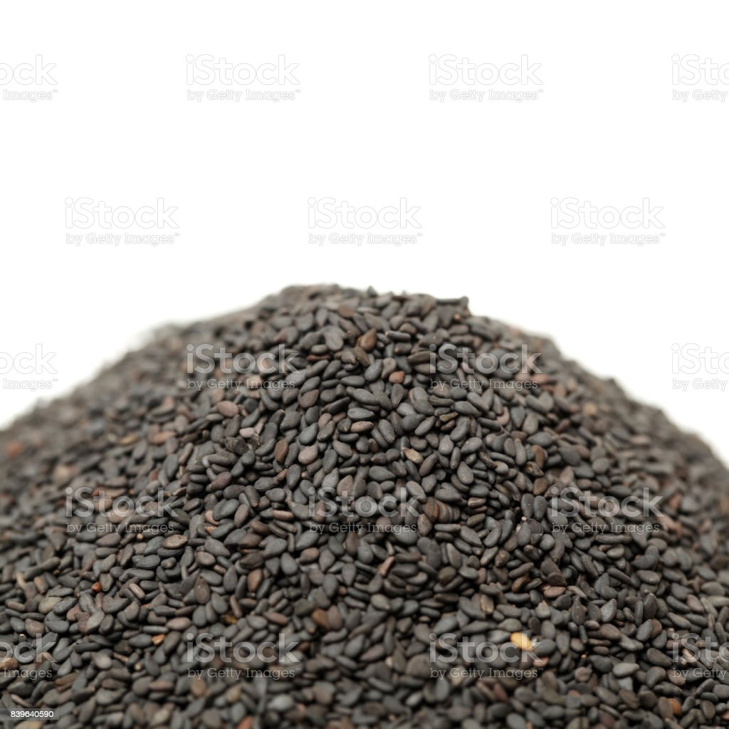 Black sesame pictures on the white background stock photo