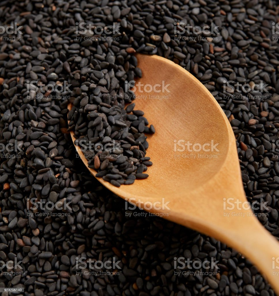 Black sesame seed food agriculture background. stock photo