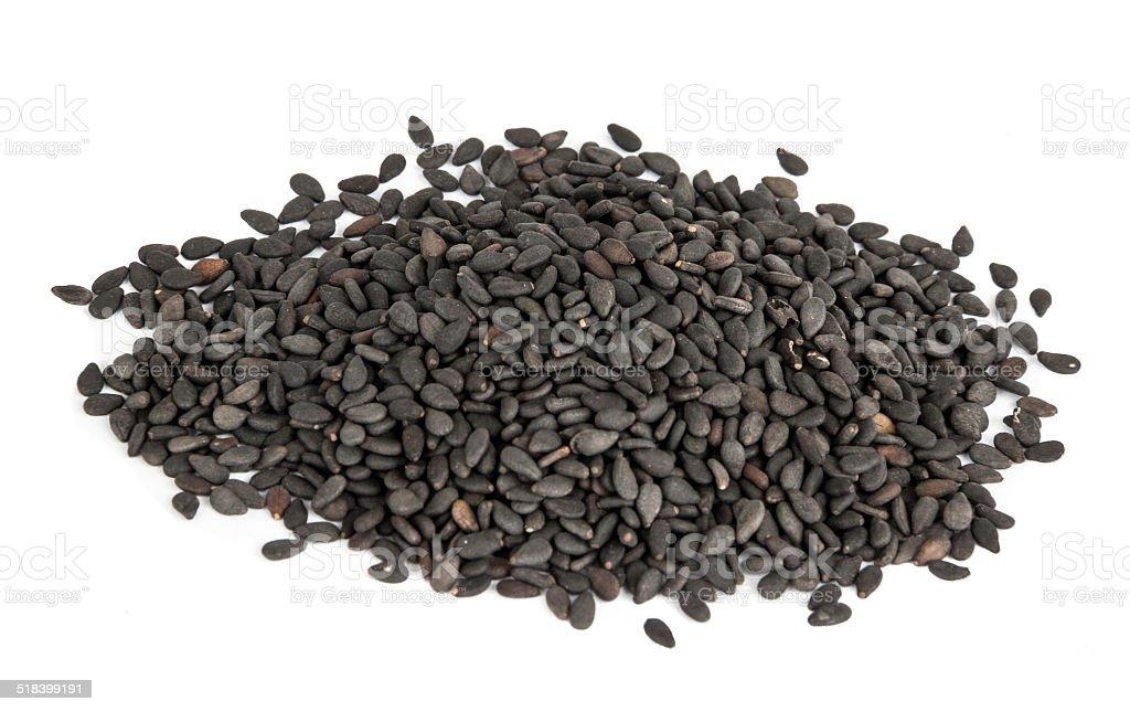 Black sesame seed or Sesamun Indicum stock photo