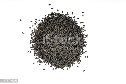 Black sesame seeds isolated on a white background.