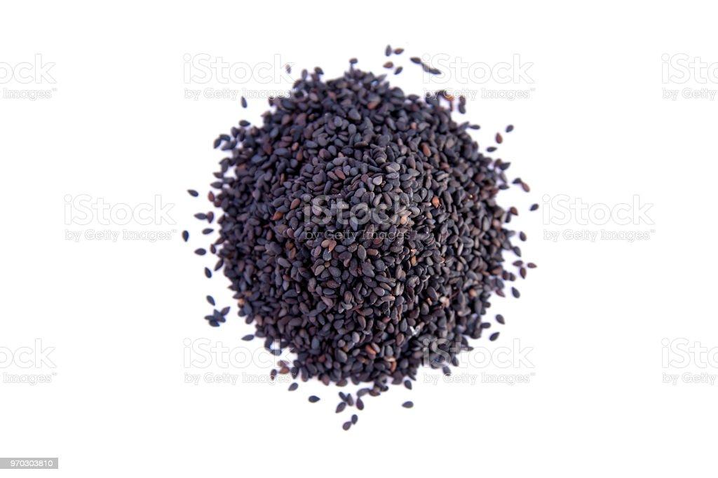 black sesame seeds isolated on white background stock photo