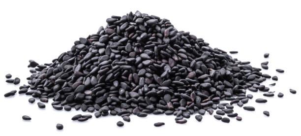 Black sesame seeds. stock photo