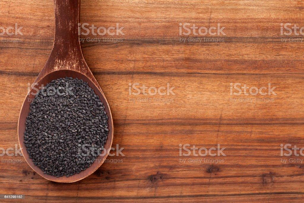 Black sesame seeds stock photo