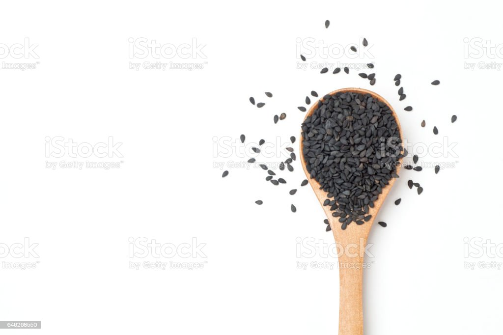 black sesame seeds stock photo