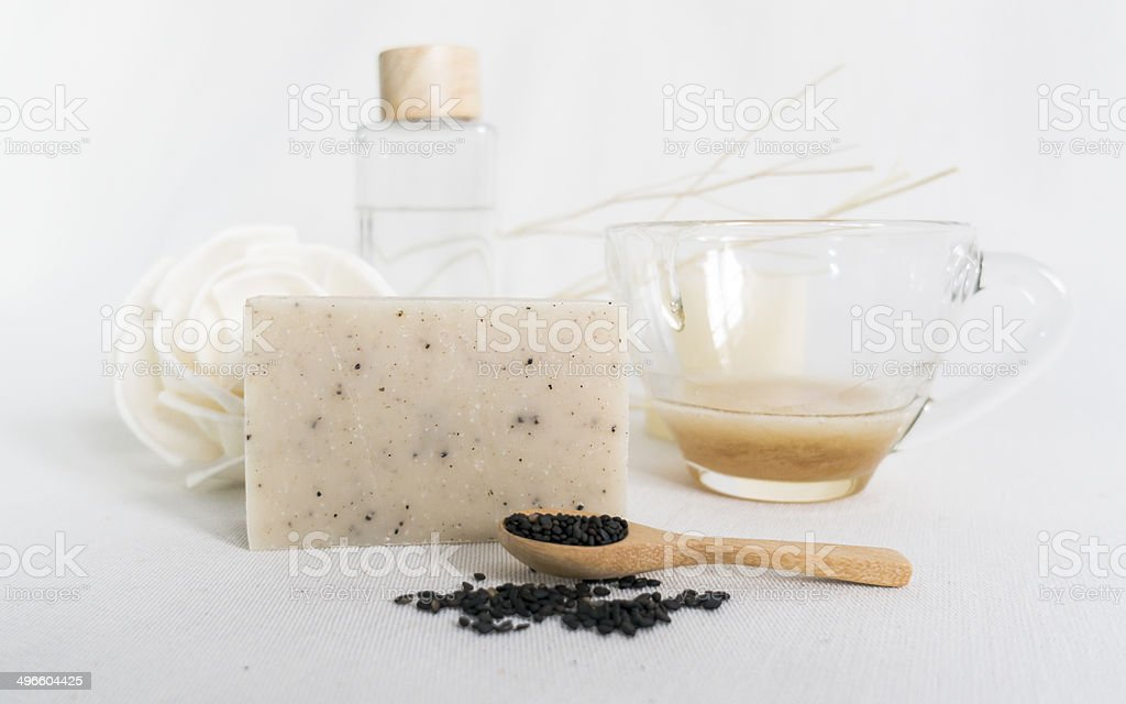 Black Sesame seeds soap stock photo
