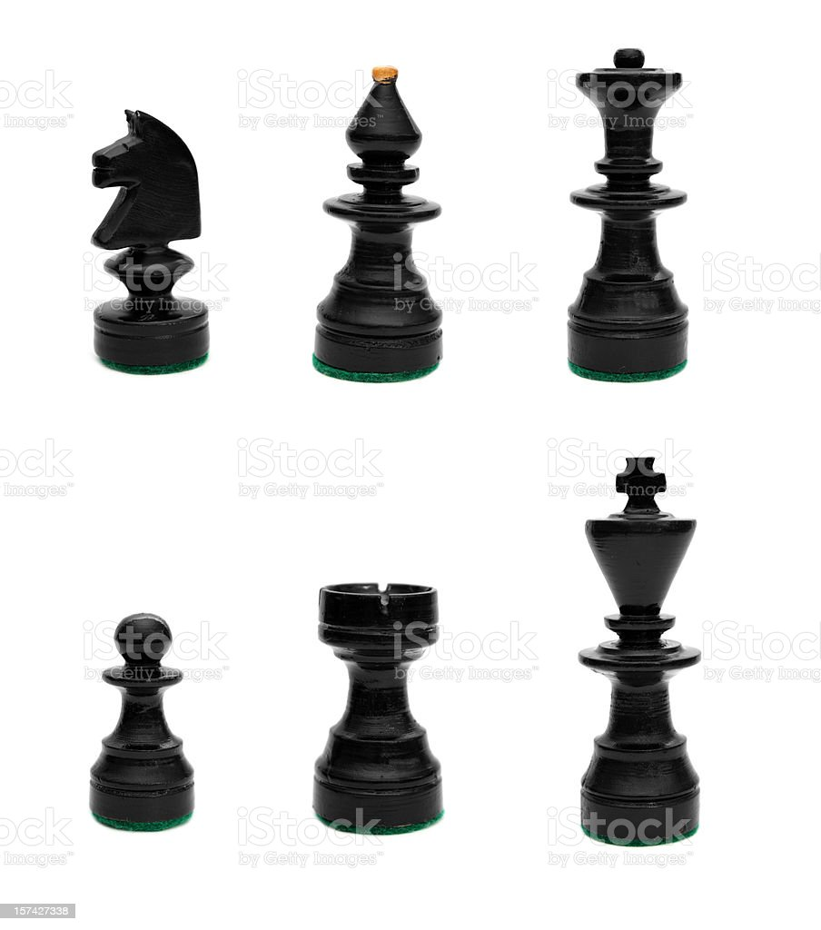 Black set of chess pieces stock photo