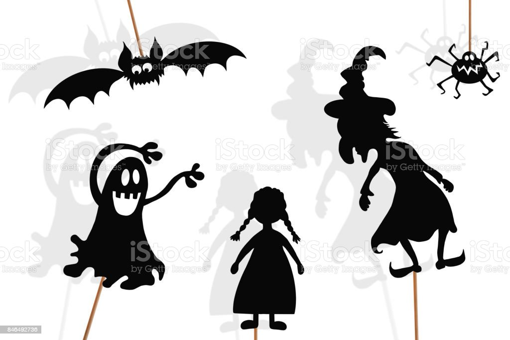 Black shadow puppets of baby girl and imaginary monsters, isolated on white background. stock photo