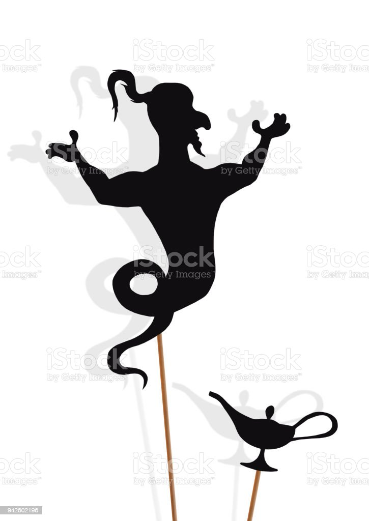 Black shadow puppets of Genie and Lamp, isolated on white background. stock photo