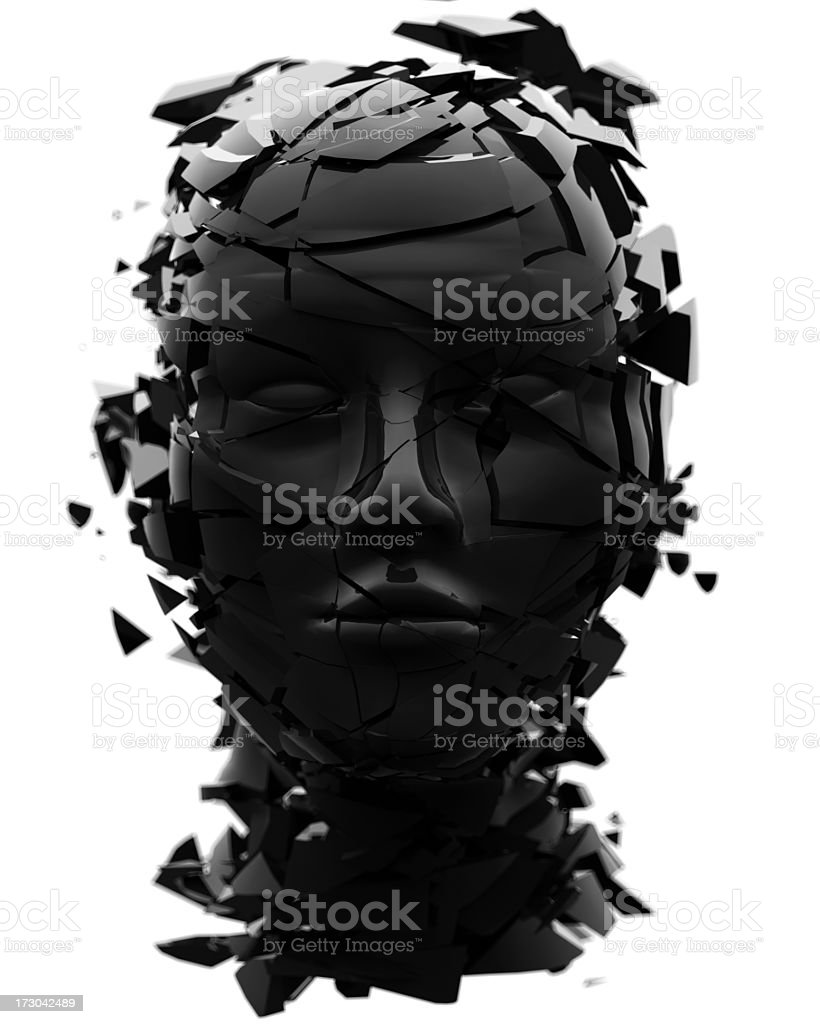 Black shattered head facing directly at viewer royalty-free stock photo