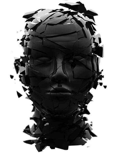 Black shattered head facing directly at viewer stock photo