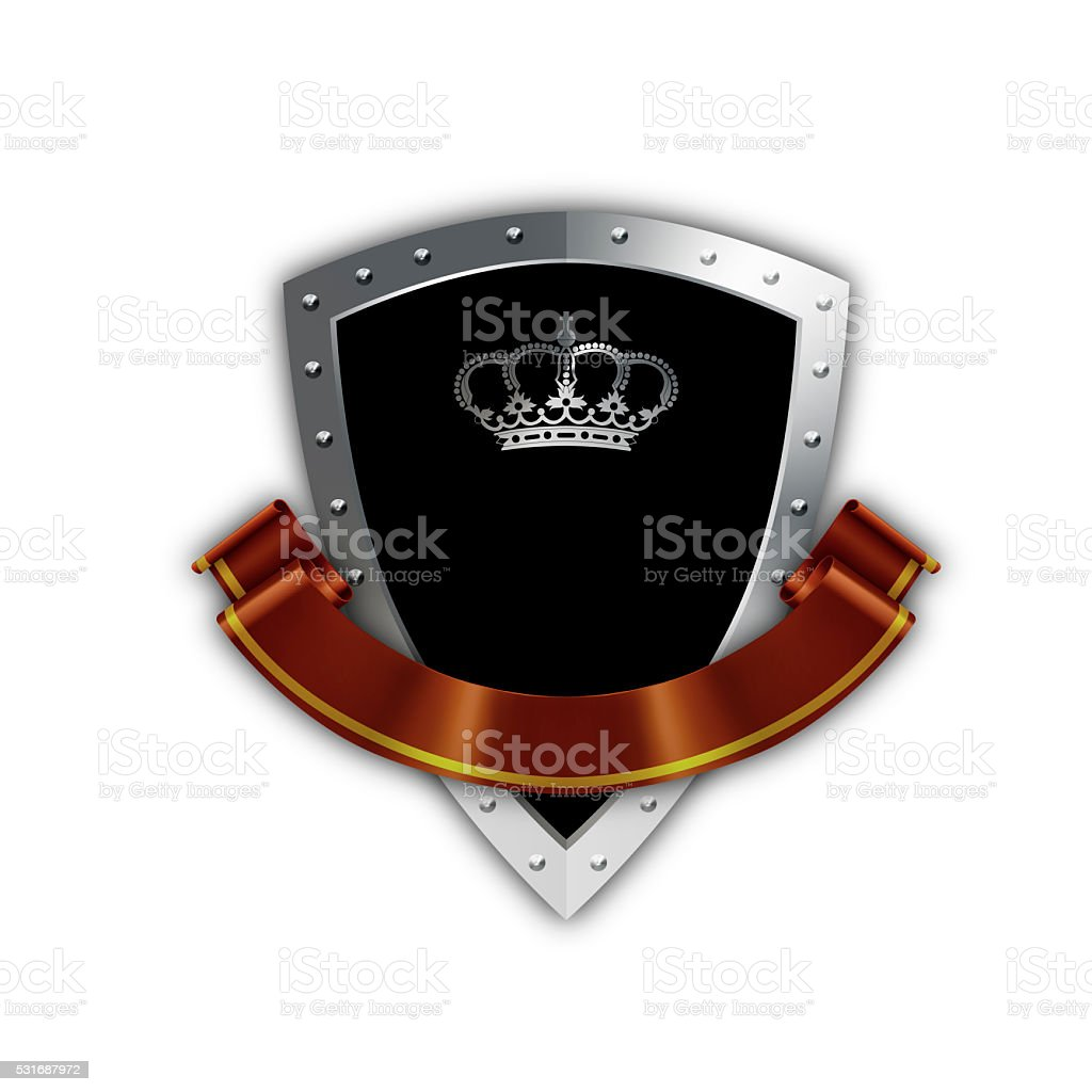 Black shield with red ribbon. stock photo
