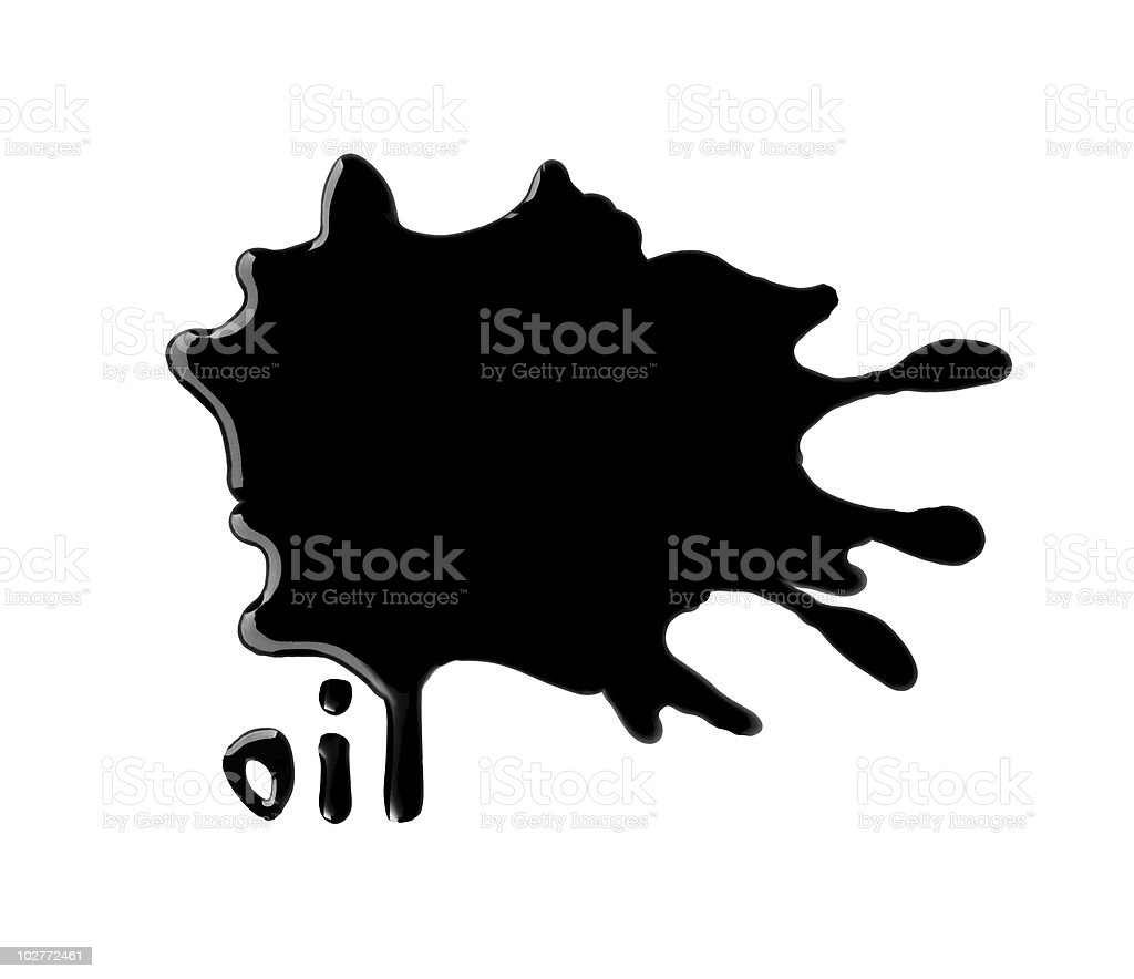 black shiny dripping oil with text stock photo