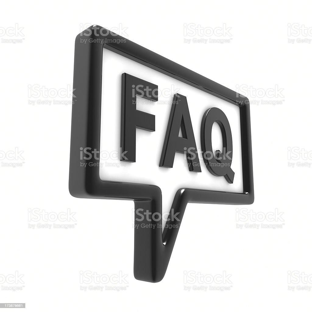 Black Shiny Speech Bubble FAQ stock photo