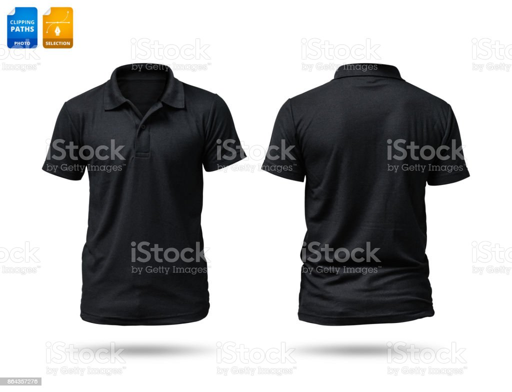 Black shirt isolated on white background. Template of cotton shirt for your design. Clipping paths object. stock photo