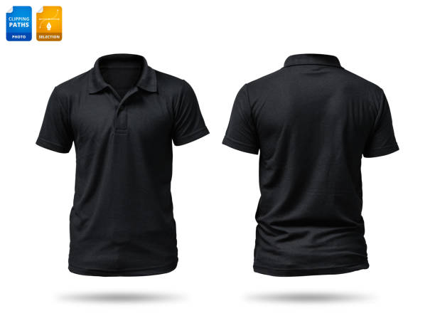 black shirt isolated on white background. template of cotton shirt for your design. clipping paths object. - shirt stock pictures, royalty-free photos & images