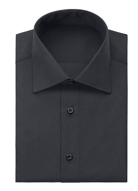 Black shirt (isolated with clipping path over white background) - foto de acervo