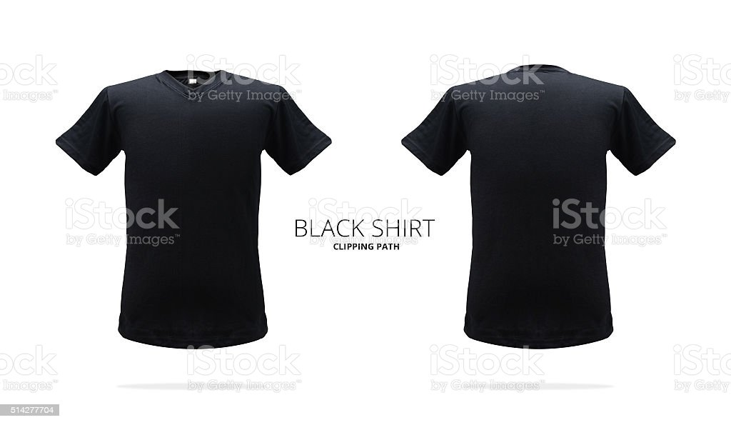 Black shirt. Shirt template. Mock up shirt. Fit shirt. stock photo