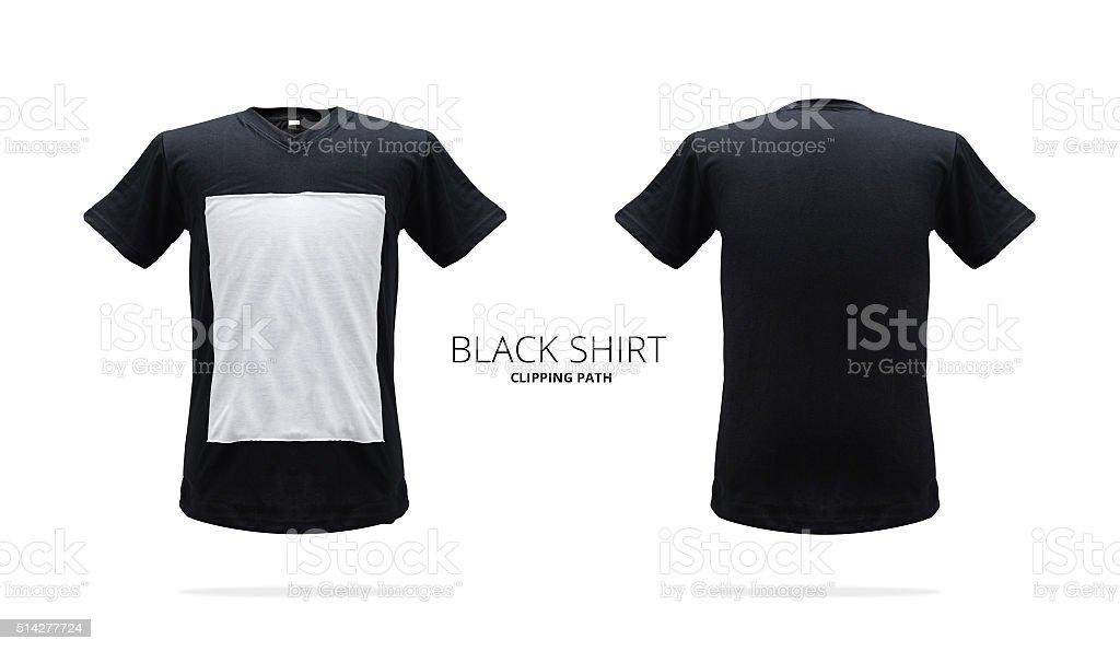 Black shirt. Shirt template. Mock up shirt. Fit shirt. stock photo