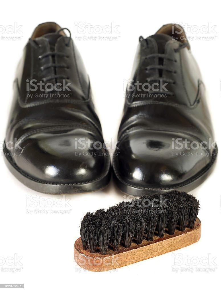 Black Shoes with Polishing Brush stock photo