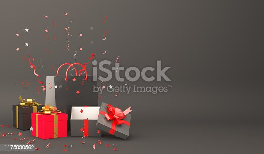 istock Black shopping bag, gift box, confetti in the studio lighting, copy space text, Design creative concept for black friday sale event. 1175030562
