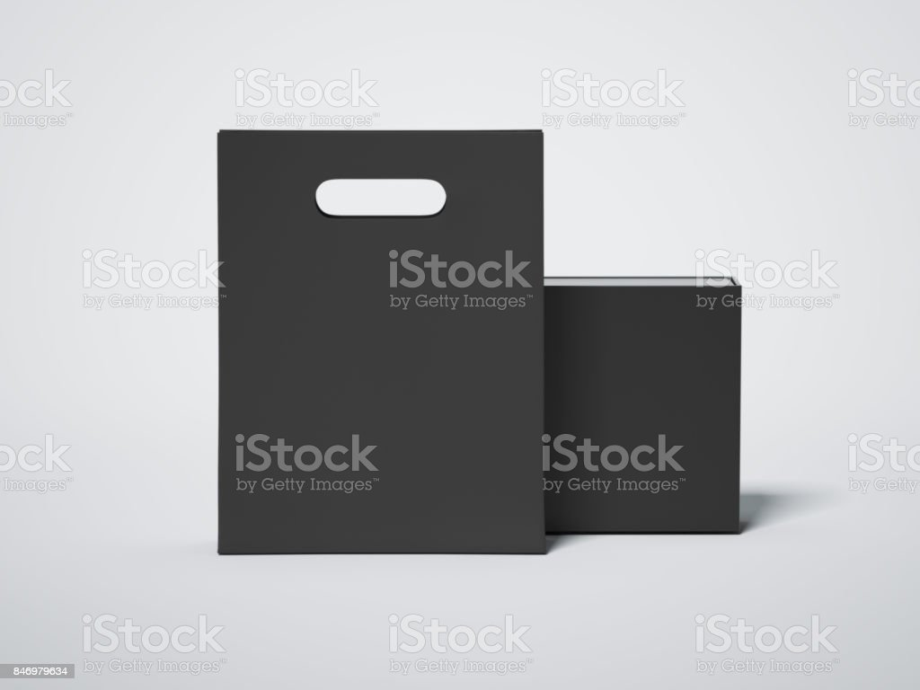 Black shopping bag with blank luxury package. 3d rendering stock photo