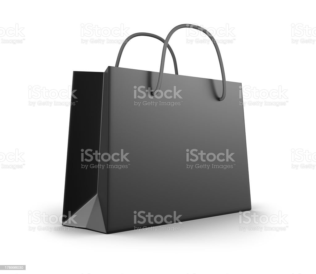 Black shopping bag with two handles on a white background stock photo