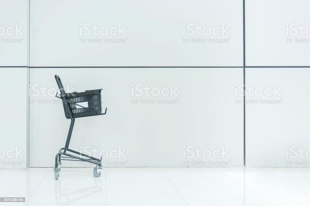 Black Shopping Cart , White Background stock photo