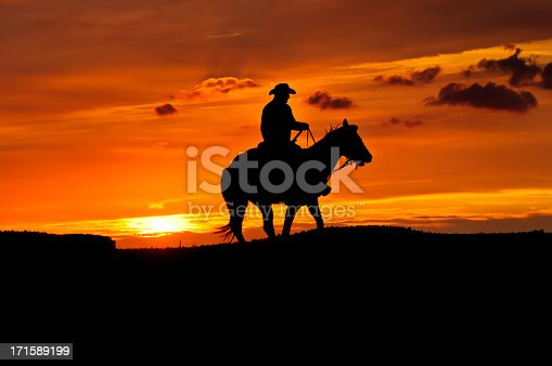 Contour, cowboy and Quarter horse in front of the setting sun. Visible noise.