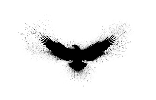 Black silhouette of a flying eagle with spread wings with paint splashes, splatters and blots isolated on a white background.