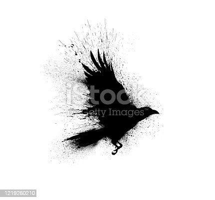 istock Black silhouette of a flying raven with spread wings with paint splashes, splatters and blots isolated on a white background. 1219260210