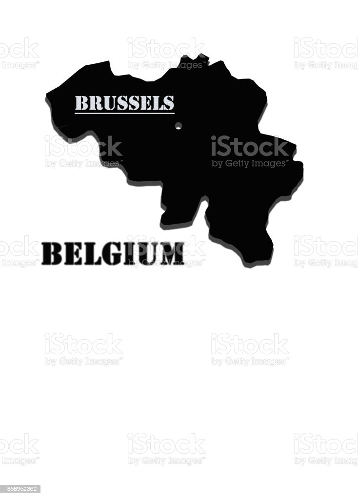 Black silhouette of map of Belgium stock photo